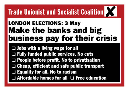 New TUSC postcard for the London Elections 3 May