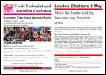 London Elections launch Rally, Wednesday 21 March