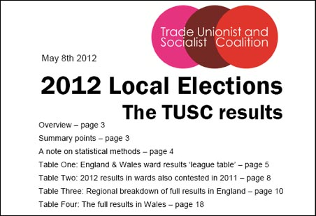 2012 elections report: The TUSC results