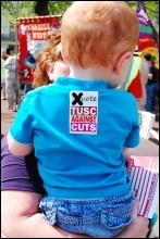 Wales May Day celebrations, with young TUSC supporter . Picture by Les Woodward