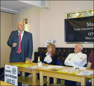 Bob Crow speaking in support of the TUSC candidate for the mayor of Doncaster, Mary Jackson, who polled 1,916 votes in Ed Miliband's backyard