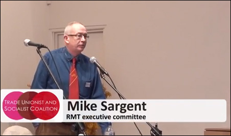 Mike Sargent, RMT executive committee , photo by TUSC