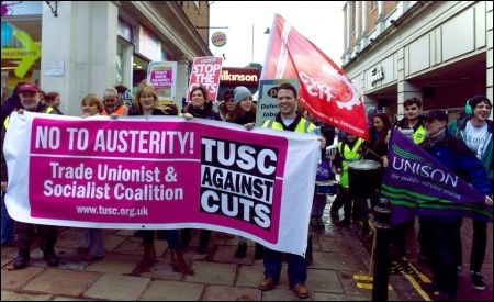 TUSC supporters on the Canterbury march to save children's centres, 15/02/14, photo by Dave Semple