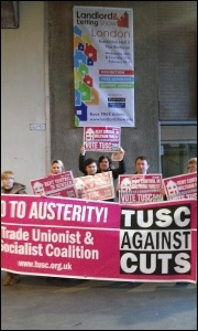 Calling for rent controls in a protest organised by Newham and Waltham Forest TUSC campaigners, photo by Bob Severn