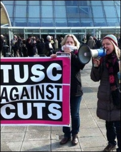 Lois Austin speaking at the Newham TUSC lobby of the Labour special conference