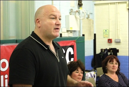 Bob Crow speaking in Waltham Forest, East London, during TUSC's 2012 GLA elections campaign, photo Senan