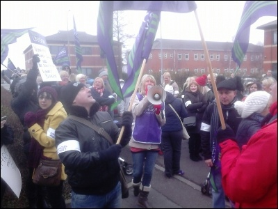 Doncaster Care UK workers on strike, March 2014