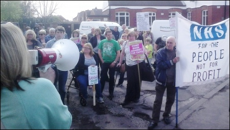 Doncaster Care UK workers and supporters demonstrate outside Ed Miliband's surgery