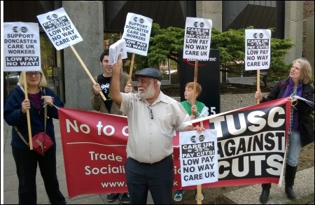 Cardiff TUSC supporters lobby Care UK in support of Doncaster workers striking against pay cuts