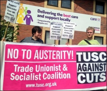 Leeds TUSC supporters demonstrate at Care UK in support of Doncaster workers striking against pay cuts