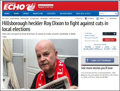 Liverpool Echo 27-4-14 Hillsborough heckler Roy Dixon to fight against cuts in local elections , photo by Liverpool Echo