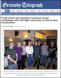 Grimsby Telegraph 16-4-14 Trade Union and Socialist Coalition unveil candidates who will fight nine seats in North East Lincolnshire, photo by Grimsby Telegraph