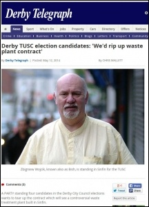 TUSC opposition to waste plant covered in Derby Telegraph, 12.05.14