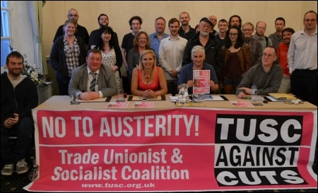 Councillors Barbara Potter and Wayne Naylor sit with Leicester TUSC organiser Steve Score and TUSC national agent Clive Heemskerk