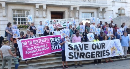 July 2014. The East London Save Our Surgeries campaign lobby Hackney council, supported by the local TUSC branch