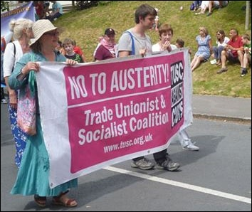 A TUSC banner on this year's Tolpuddle Martyrs' demonstration
