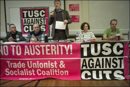TUSC conference opening platform, from the left: Sean Hoyle and Paul Reilly (RMT), Dave Nellist (Chair), Hannah Sell (Socialist Party) and Charlie Kimber (SWP). Photo Paul Mattsson